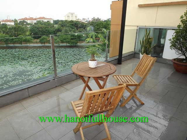 WEST LAKE- BEAUTIFUL BALCONY, LAKE VIEW TWO BEDROOM SERVICED APARTMENT RENTALS IN QUANG KHANH STREET