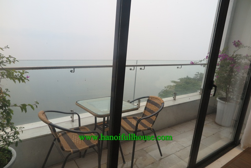 Nice, brand new apartment in Yen Phu village, facing the lake, 2 bedrooms, big balcony, good and modern furniture.