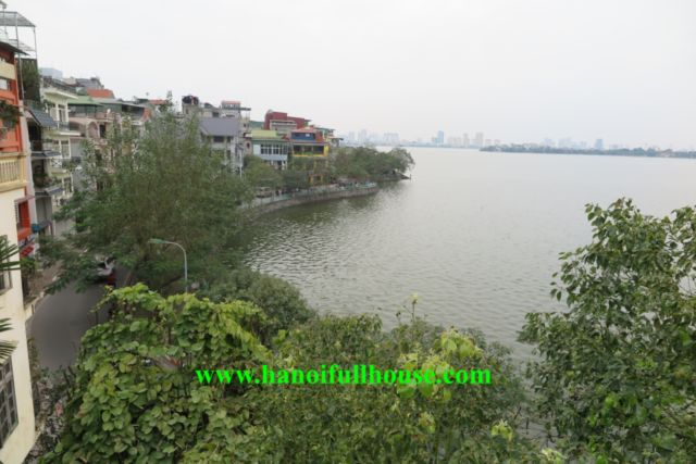 Villa facing the West lake, garden, wonderful terrace in Tay Ho for rent now