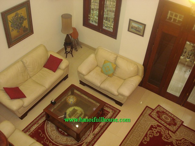 What is a lovely house in ba dinh district for rent! luxury furniture, 6 bedrooms, garage