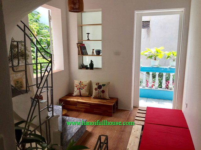 A nice house with beautiful garden & balcony for rent in Ba Dinh-HN