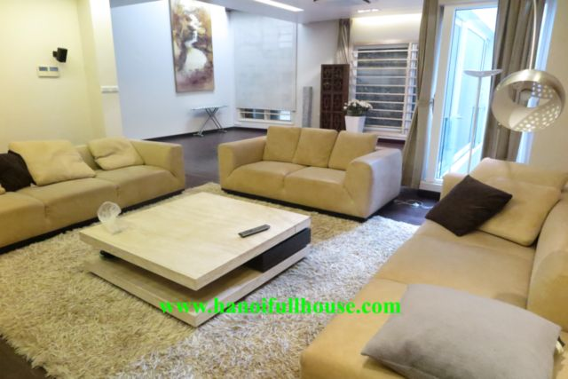 Furnished house with garage in To Ngoc Van street for rent, 4 bedrooms, 1 working room, lake view