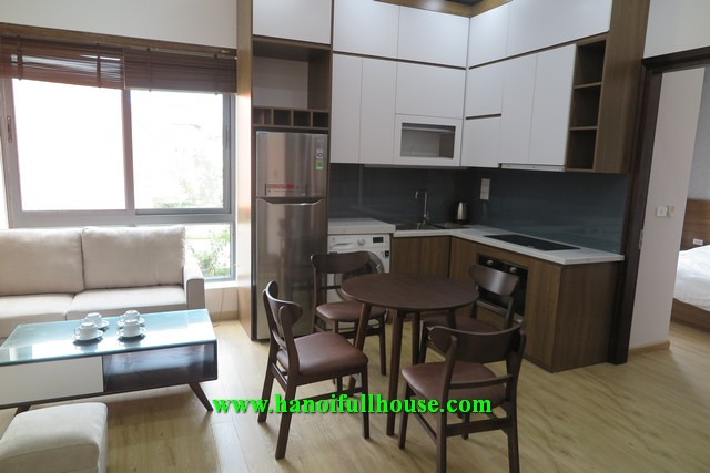 Nice service apartment in Tay Ho street, 2 bedrooms, balcony and terrace for rent.