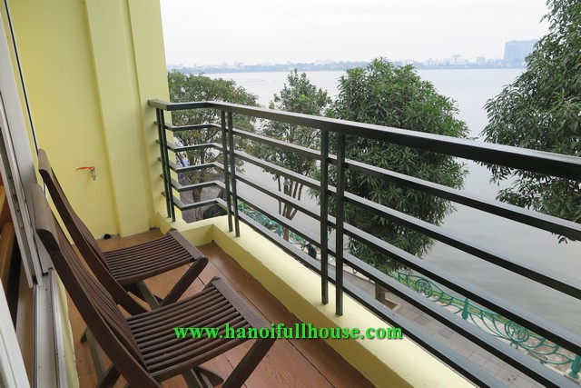 Lake view apartment on Tu Hoa street, 2 bedrooms, large balcony for rent.