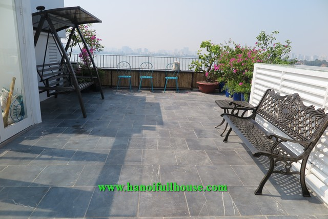 Super impressive apartment in Yen Phu village, great terrace and large balcony for rent.