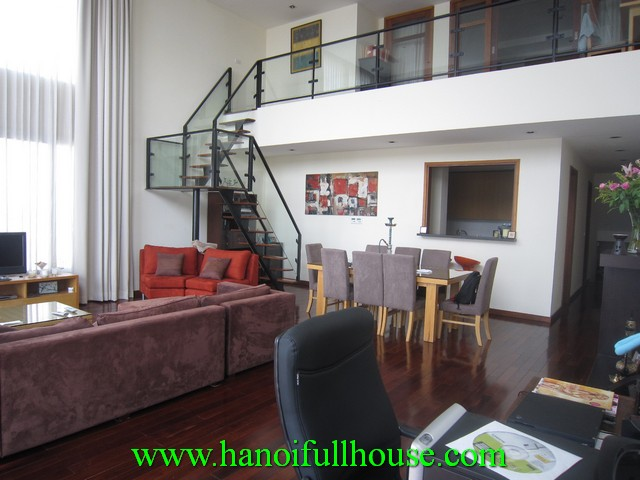 Big balcony penthouse apartment viet nam for rent. 3 bedrooms, fully furnished, West Lake view