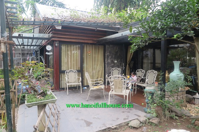 For rent a beautiful house in Tay Ho dist. The house with a big garden, terrace and lots of light