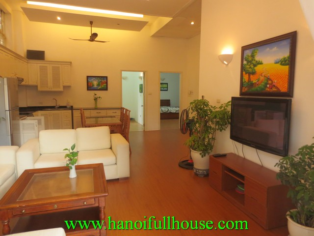 Tay Ho serviced apartment with 3 bedrooms for rent. Fully furnished, courtyard, car access