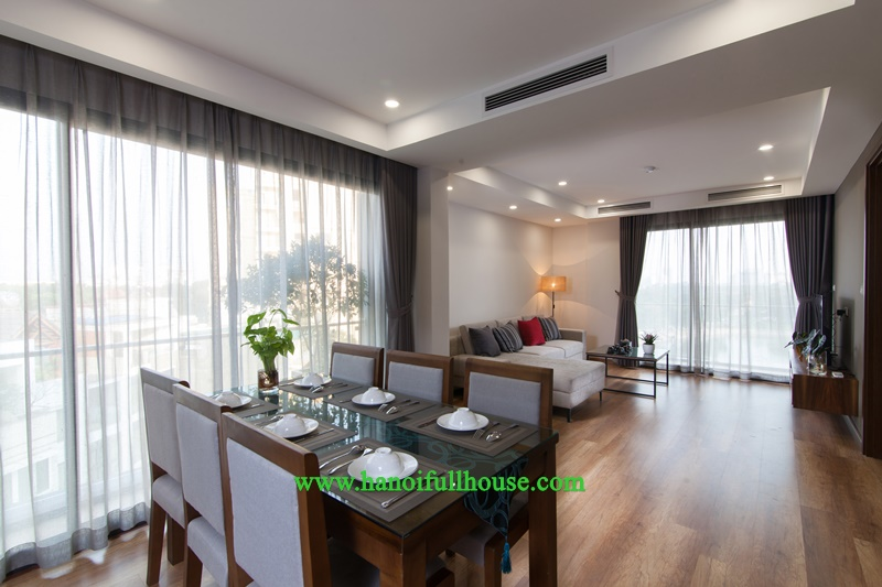Luxury two-bedroom serviced apartment facing to Ba Mau Lake for rent in Dong Da dist