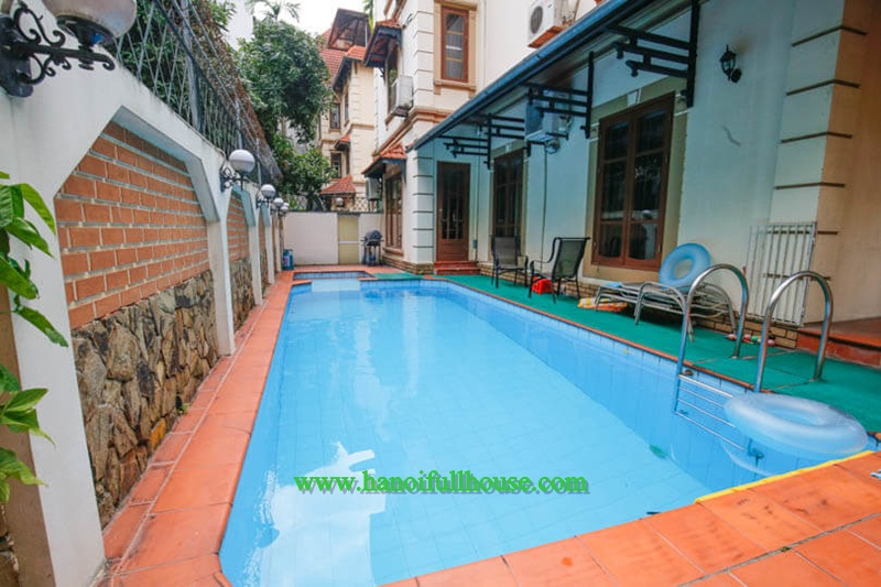 Spacious villa with beautiful pool, garden, six bedrooms in To Ngoc Van, Tay Ho for rent