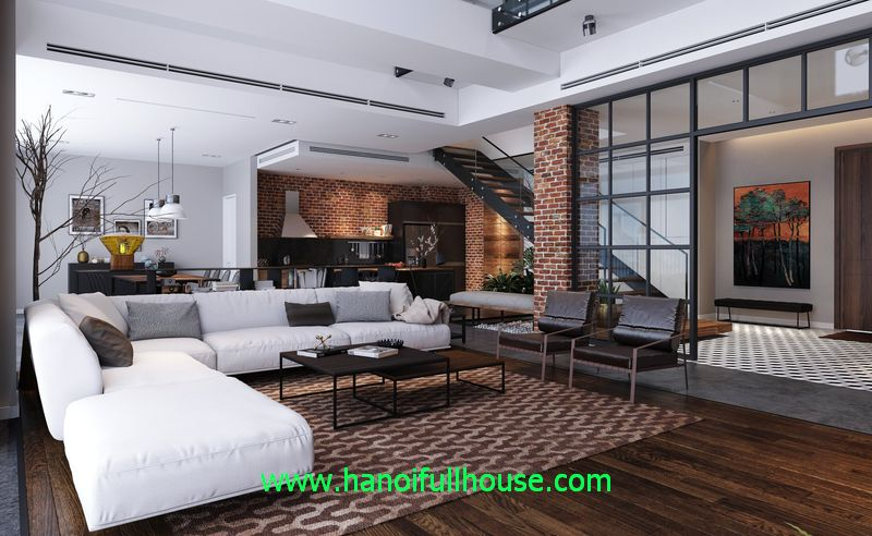 Largest duplex apartment with 500 sq m in Hanoi for rent, 4 bedrooms, Luxury interior for embassy, family foreigners