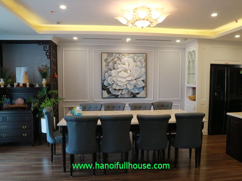 Brand new 120 sq m furnished apartment for rent in Hanoi Aqua Central apartment building on Yen Phu street