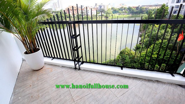 Three-bedroom service apartment on Au Co street, lake view, good price for rent.