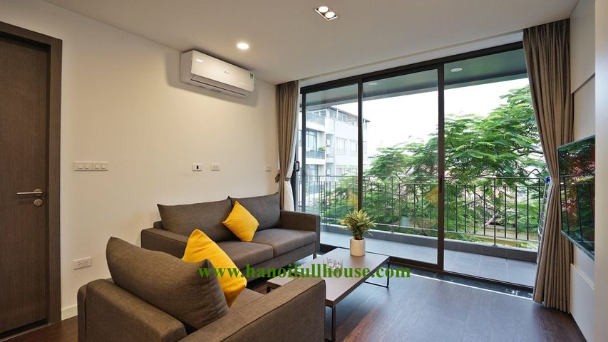 New beautiful 1 bedroom serviced apartment with large balcony for rent in To Ngoc Van